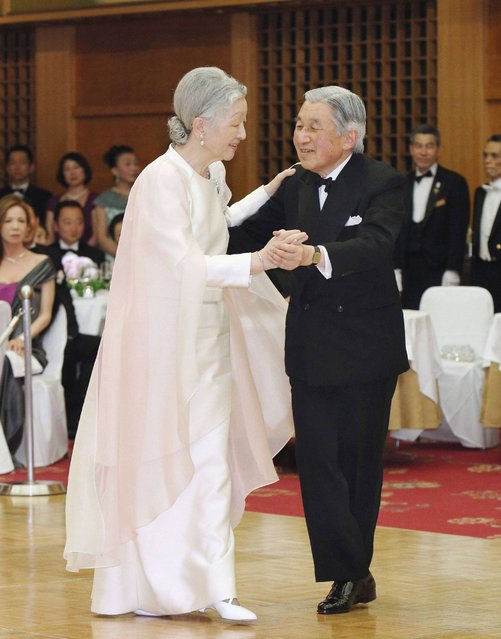 Japan's Emperor Akihito and Empress Michiko dance at a charity dance party at a hotel in Tokyo in this April 12, 2013 photo released by Kyodo. It was the first time in twenty years that the monarch danced before the public, local media reported. (Photo by Reuters/Kyodo)