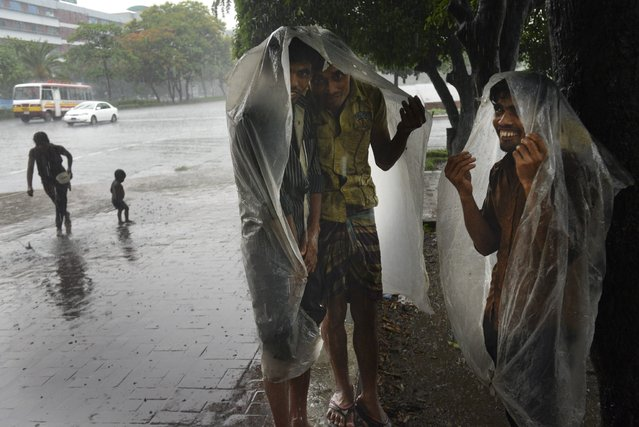 Bangladeshis cover themselves with plastic sheets as it rains on a deserted street during a general strike called by 18 opposition parties in Dhaka, Bangladesh, Wednesday, May 8, 2013. The strike was ostensibly organized to demand changes in electoral law and to protest the deaths of 29 people, many of them Islamic hardliners, on Monday during street demonstrations calling for new anti-blasphemy laws. (Photo by Ismail Ferdous/AP Photo)