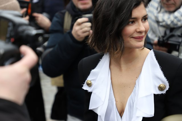 Audrey Tautou arriving to the Balmain show as part of Paris Fashion Week Fall/Winter 2020/2021 on February 28, 2020 in Paris, France. (Photo by Meryl Curtat/SIPA Press)