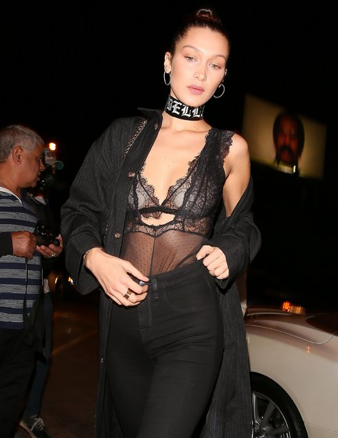 Bella Hadid is seen on November 06, 2016 in Los Angeles, California. (Photo by BG008/Splash News and Pictures)