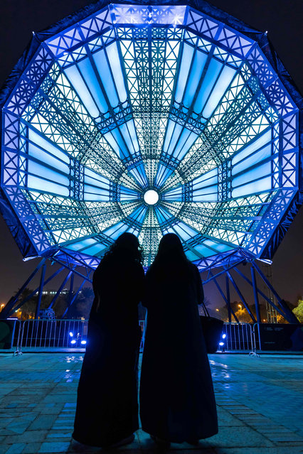 An art installation called «The Cupola» is seen during the Noor Riyadh light and art festival, by the Royal Commission for Riyadh City on March 20, 2021. The event includes more than 60 art works around Riyadh, Saudi Arabia. (Photo by Ashraf Jamali/Noor Festival/AFP Photo)