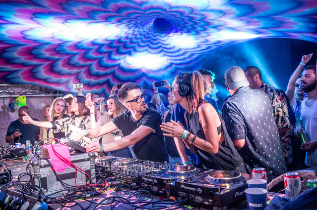 Bastian Bux and Tini Gessler perform on The main stage, Elrow Town at Queen Elizabeth Olympic Park on August 18, 2018 in London, England. (Photo by Ollie Millington/Redferns)