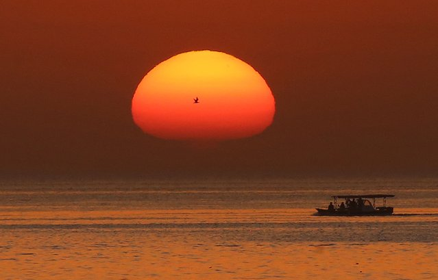 A picture taken on early on May 28, 2021 shows the sun rising in Kuwait City. (Photo by Yasser Al-Zayyat/AFP Photo)