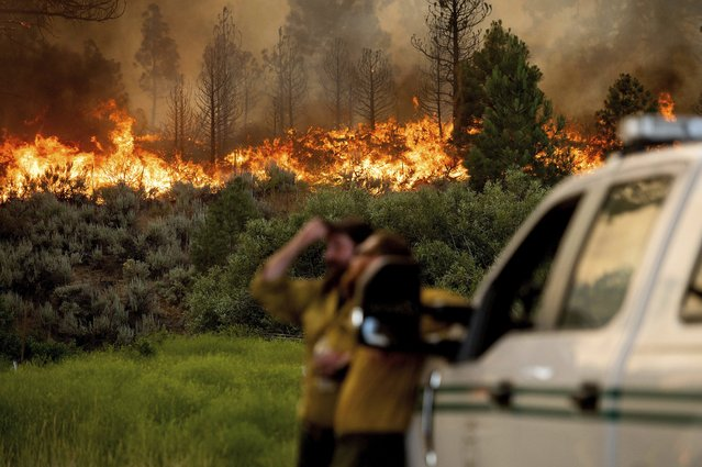 U.S. Forest Service firefighters Chris Voelker, left, and Kyle Jacobson monitor the Sugar Fire, part of the Beckwourth Complex Fire, burning in Plumas National Forest, Calif., on Friday, July 9, 2021. The Beckwourth Complex — a merging of two lightning-caused fires — headed into Saturday showing no sign of slowing its rush northeast from the Sierra Nevada forest region after doubling in size only a few days earlier. (Photo by Noah Berger/AP Photo)