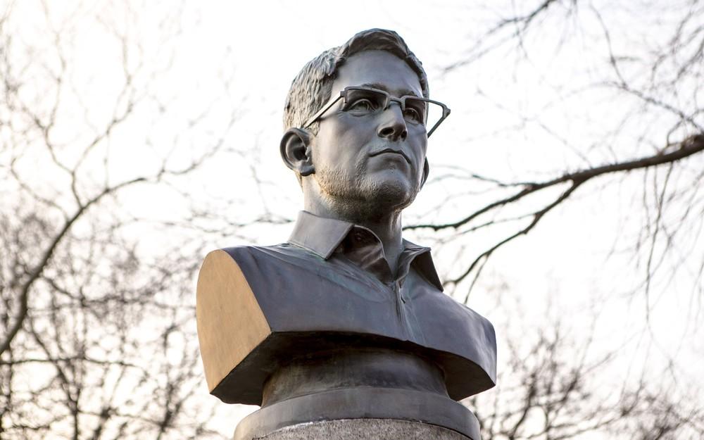 Bust of Edward Snowden in Brooklyn Park