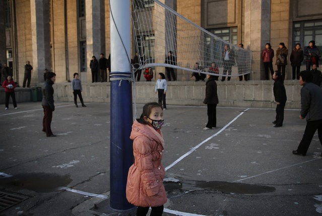 A young girl watches a game of volleyball played among North Korean women on the Kim Il Sung Square at the end of a work day on Monday, November 30, 2015, in Pyongyang, North Korea. (Photo by Wong Maye-E/AP Photo)