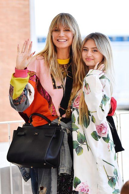 The German model Heidi Klum with her daughter Leni arrive at Venice airport for the D&G event ahead of the 2021 Venice Film Festival on August 27, 2021. (Photo by Backgrid USA)