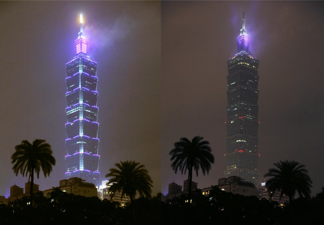 This combo photo shows the Taipei 101 skyscraper with its lights on and off to mark Earth Hour in Taipei, Taiwan, Saturday, March 19, 2016. Cities around Asia were turning out the lights Saturday evening to mark the 10th annual Earth Hour, a global movement dedicated to protecting the planet and highlighting the effects of climate change. (Photo by Wally Santana/AP Photo)