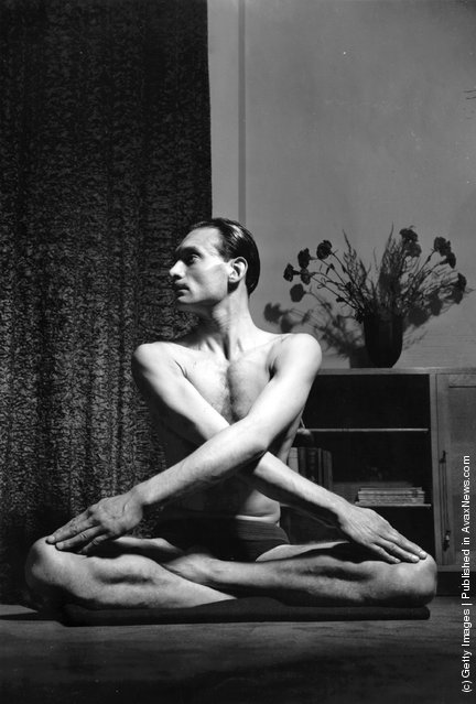 James Hay-Kellie demonstrating yoga positions, 1940