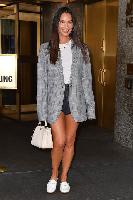 Olivia Munn wears a grey blazer leaving NBC Studios in New York City on June 26, 2019. (Photo by Robert O'Neil/Splash News and Pictures)