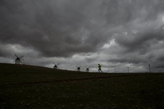 Fernando Ortega, 40, runs past the windmills in Alcazar de San Juan, Spain, April 5, 2016. (Photo by Susana Vera/Reuters)