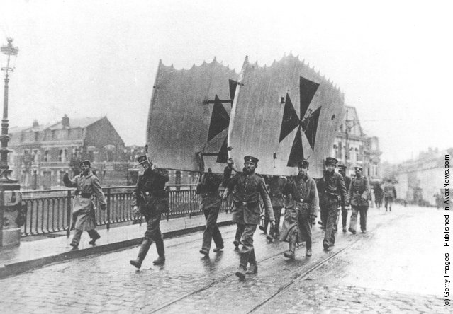 The new Iron Cross insignia of the German Air Service displayed on a bi-plane's wing tips at St Quentin, France
