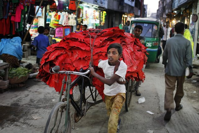 In this Thursday, February 9, 2017 photo, a Bangladeshi boy pulls a rickshaw loaded with strips of leather at the highly polluted Hazaribagh tannery area in Dhaka, Bangladesh. Hazardous, heavily polluting tanneries with workers as young as 14 supplied leather to companies that make shoes and handbags for Western brands, a nonprofit group that investigates supply chains says. (Photo by A.M. Ahad/AP Photo)