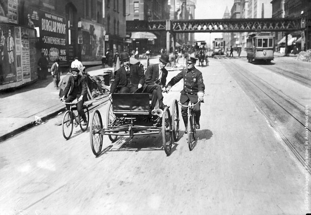 The first automobile made in America based on plans by Elwood G Haynes, 1893