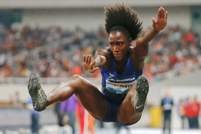 Athletics, IAAF Athletics Diamond League meeting, Women's long jump, Shanghai Stadium, Shanghai, China on May 14, 2016. Tianna Bartoletta of the U.S. competes. (Photo by Aly Song/Reuters)