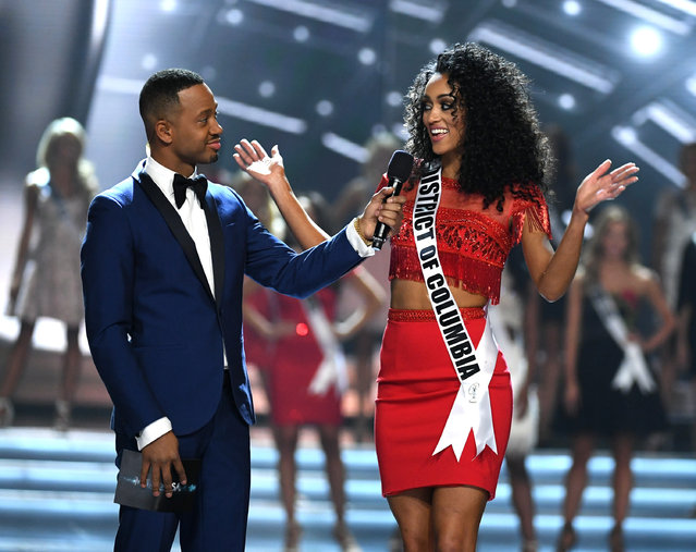 Co-host Terrence J (L) talks with Miss District of Columbia USA 2017 Kara McCullough after she was named a top 10 finalist during the 2017 Miss USA pageant at the Mandalay Bay Events Center on May 14, 2017 in Las Vegas, Nevada. She went on to be named the new Miss USA. (Photo by Ethan Miller/Getty Images)