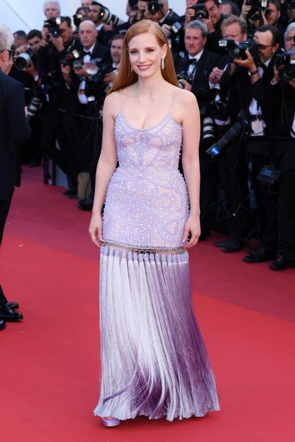 "Jessica Chastain attends the ""Okja"" screening during the 70th annual Cannes Film Festival at Palais des Festivals on May 19, 2017 in Cannes, France. (Photo by David Fisher/Rex Features/Shutterstock)"