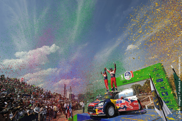 Sebastien Loeb of France and Daniel Elena of Monaco celebrate their victory during day three of the WRC Rally Mexico