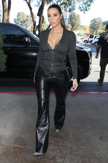 Kim Kardashian flaunts her famous figure while out for lunch at La Plata in Agoura Hills, CA. on December 10, 2019. (Photo by Backgrid USA)