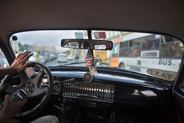 A taxi driver drives a vintage car in downtown Havana, January 16, 2015. (Photo by Alexandre Meneghini/Reuters)