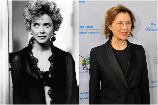 Annette Bening in 1990 and today. (Photo by Everett Collection/Getty Images)