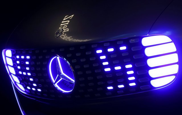 The front of a Mercedes-Benz F 015 Luxury in Motion concept car is pictured at the booth of Mercedes-Benz during the media day at the Frankfurt Motor Show (IAA) in Frankfurt, Germany, September 14, 2015. (Photo by Ralph Orlowski/Reuters)