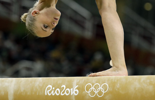 Netherlands' Sanne Wevers performs on the balance beam during the gymnastics exhibition gala at the 2016 Summer Olympics in Rio de Janeiro, Brazil, Wednesday, August 17, 2016. (Photo by Dmitri Lovetsky/AP Photo)