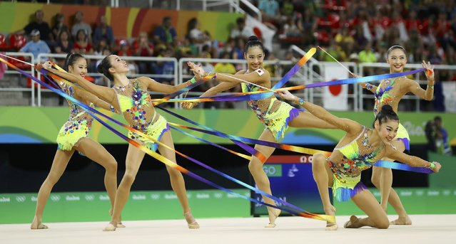 2016 Rio Olympics, Rhythmic Gymnastics, Preliminary, Group All-Around Qualification, Rotation 1, Rio Olympic Arena, Rio de Janeiro, Brazil on August 20, 2016. Team Japan (JPN) compete using ribbons. (Photo by Mike Blake/Reuters)
