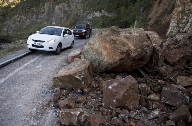 Damage in Coquimbo, some 445 km north of Santiago, caused by the eve's earthquake on September 17, 2015. (Photo by Martin Bernetti/AFP Photo)