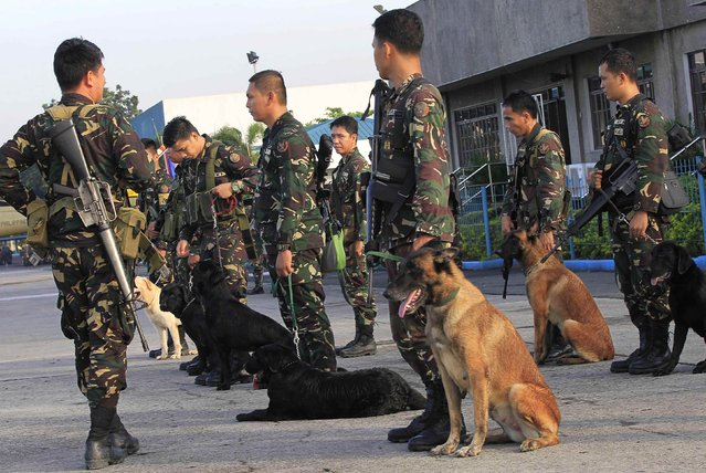 Filipino soldiers with K9 sniffing dogs wait to board a military plane at the Villamor air base in Pasay city, metro Manila October 7, 2014, as they embark on a search operation for the hideout of Abu Sayyaf group, an Al Qaeda-linked terrorist group who are believed to be holding two German hostages in Jolo, Sulu, southern Philippines. The Al Qaeda-linked militants in the southern Philippines have threatened to kill one of the two German hostages they have been holding since April unless their demands are met. (Photo by Romeo Ranoco/Reuters)