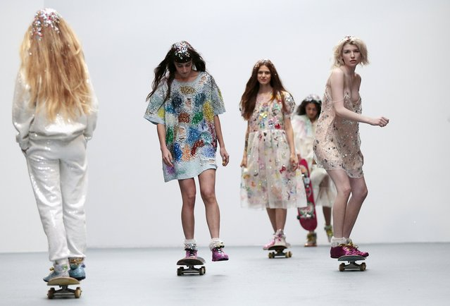Models ride skateboards as they present creations from the Ashish Spring/Summer 2016 collection during London Fashion Week in London, Britain September 22, 2015. (Photo by Suzanne Plunkett/Reuters)