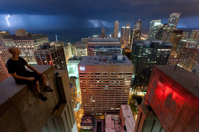 """One of the most awesome nights ever: the massive thunderstorm kept us entertained for hours! Ritz-Carlton Residences, Chicago, Illinois, USA"". (Photo by Marc)"