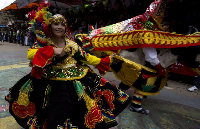 Dancers perform during the Carnival in Oruro, Bolivia, Saturday, February 10, 2018. (Photo by Juan Karita/AP Photo)