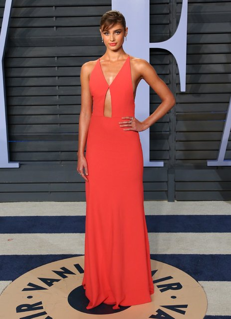 Taylor Hill attends the 2018 Vanity Fair Oscar Party following the 90th Academy Awards at The Wallis Annenberg Center for the Performing Arts in Beverly Hills, California, on March 4, 2018. (Photo by Jean-Baptiste Lacroix/AFP Photo)