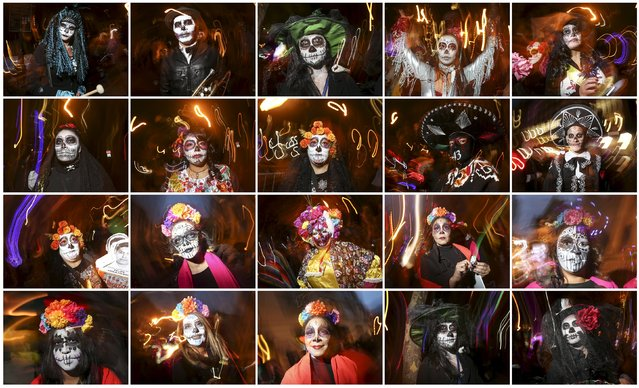 "A combination photograph shows revelers dressed in ""Dia de Muertos"" or ""Day of the Dead"" themes as they pose for photos while taking part in the Greenwich Village Halloween Parade in the Manhattan borough of New York October 31, 2015. (Photo by Carlo Allegri/Reuters)"