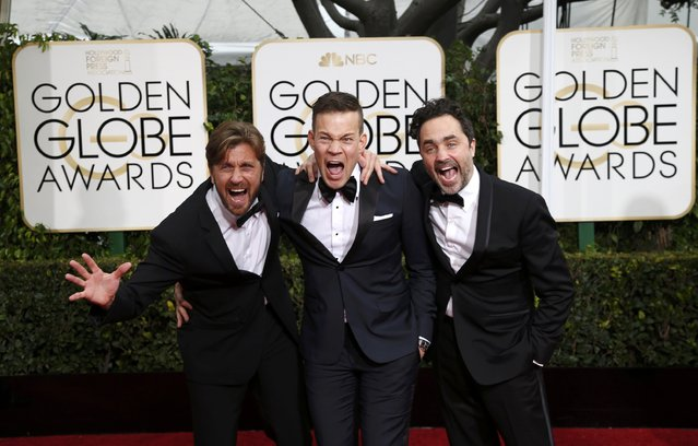"Swedish ""Force Majeure"" director Ruben Ostlund (L) arrives with producers Johannes Bah Kuhnke and Erik Hemmendorff (R) at the 72nd Golden Globe Awards in Beverly Hills, California January 11, 2015. (Photo by Mario Anzuoni/Reuters)"