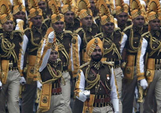 Indian soldiers march during the Republic Day parade in New Delhi January 26, 2015. (Photo by Ahmad Masood/Reuters)