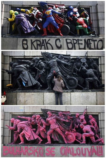 A combination picture showing figures of Soviet soldiers at the base of the Soviet Army monument in Sofia. (Photo by Stoyan Nenov/Reuters)