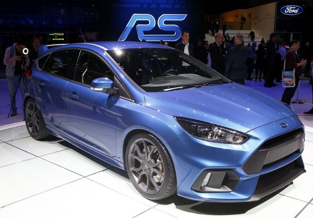 The new Ford Focus RS is seen during the first press day ahead of the 85th International Motor Show in Geneva March 3, 2015. REUTERS/Arnd Wiegmann