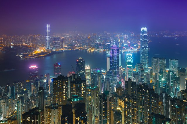 A typical viewpoint over Hong Kong Island and neighbouring Kowloon. (Photo by Peter Stewart/Barcroft Media)