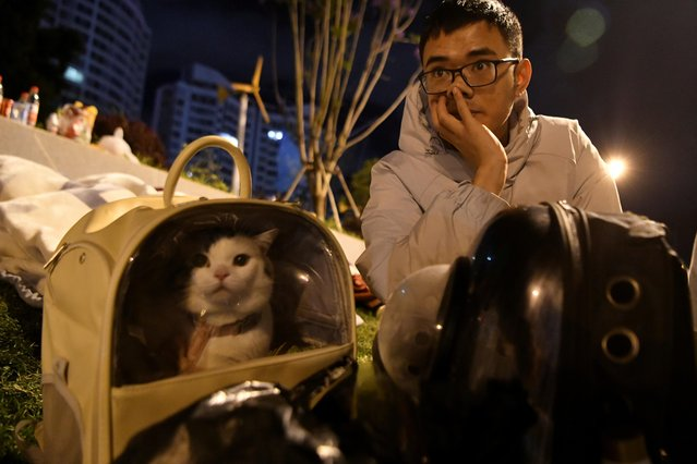 A man and his cat rest in the street after an earthquake on May 22, 2021 in Dali, Yunnan Province of China. According to the China Earthquake Networks Center, a 5.6-magnitude earthquake jolted Yangbi Yi autonomous county in Dali Bai autonomous prefecture, Southwest China's Yunnan province on Friday evening. (Photo by Liu Ranyang/China News Service via Getty Images)