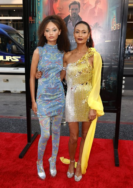 """English actress Thandiwe Newton and her daughter Nico Parker attend the Warner Bros. Pictures """"Reminiscence"""" Los Angeles Premiere at TCL Chinese Theatre on August 17, 2021 in Hollywood, California. (Photo by Frazer Harrison/Getty Images)"""