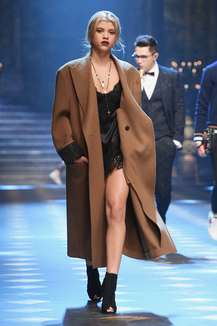 Sofia Richie walks the runway at the Dolce & Gabbana show during Milan Men's Fashion Week Fall/Winter 2017/18 on January 14, 2017 in Milan, Italy. (Photo by Venturelli/WireImage)