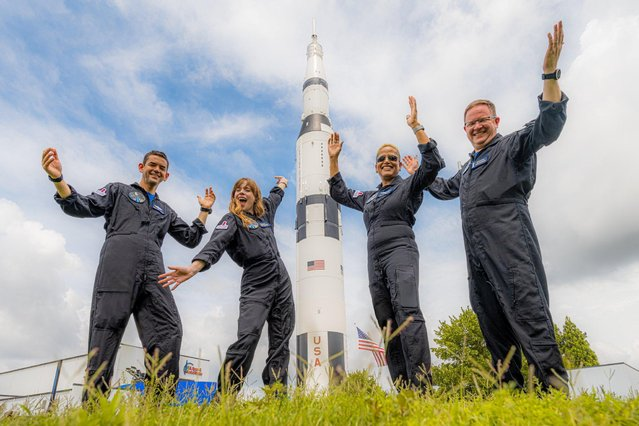 The Inspiration4 crew of Chris Sembroski, Sian Proctor, Jared Isaacman and Hayley Arceneaux reacts in this picture obtained by Reuters on September 15, 2021. (Photo by INSPIRATION 4/Handout via Reuters)