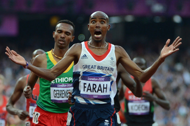 Britain's Mohamed Farah celebrates after winning the men's 5000m final at the athletics event of the London 2012 Olympic Games on August 11, 2012 in London. (Photo by Olivier Morin/AFP Photo)