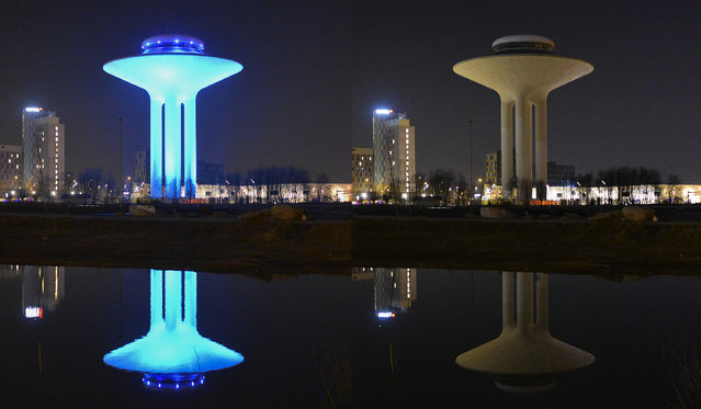 This combination photo shows the Hyllie water tower lit, left, and with the lights turned off to mark Earth Hour in Malmo, Sweden, Saturday, March 19, 2016. (Photo by Johan Nilsson/TT News Agency via AP Photo)