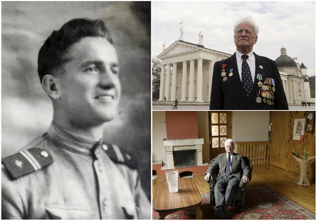World War Two veteran Julius Deksnis, 88, is seen in an undated handout picture (L), posing for a picture in central Vilnius (Top R) and at home in Lithuania March 27, 2015. Deksnis served in the infantry of the Soviet Union army from August 1944 until May 1945. Originally from Lithuania the end of World War Two found him in Latvia. (Photo by Ints Kalnins/Reuters/Family handout (L))