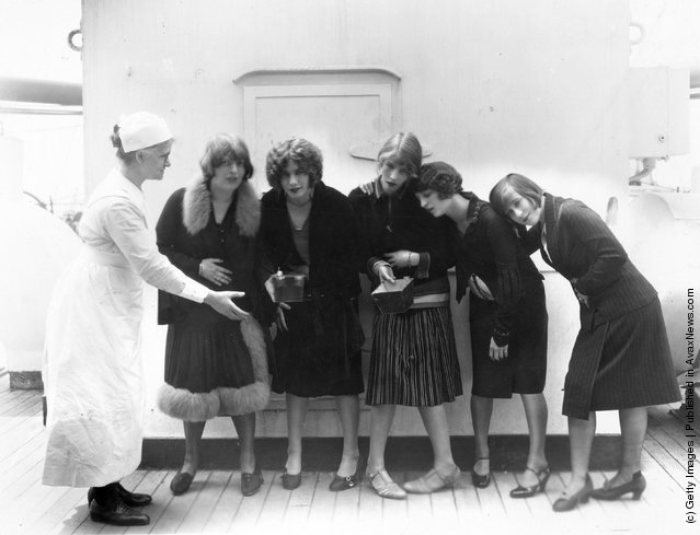 The Hoffman Girls, appearing in 'Shake Your Feet' at the London Hippodrome, appearing to be more than a little seasick