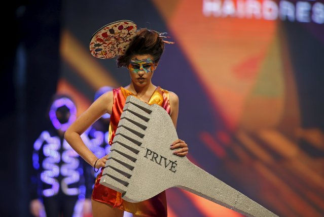 A model presents a creation by Maltese hairstylist Marielle Calleja of Prive at the Malta Fashion Awards 2015 at the Marsa Shipbuilding warehouse in Marsa, outside Valletta in Malta, May 16, 2015. (Photo by Darrin Zammit Lupi/Reuters)