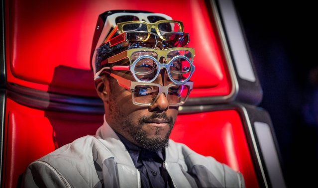 BBC handout photo of Will.i.am on The Voice this evening, UK, on March 22, 2014. (Photo by Guy Levy/PA Wire/BBC/Wall To Wall)